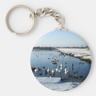 Winter boating lake scene with birds feeding. basic round button keychain