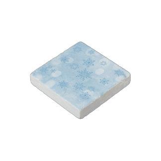 winter bokeh blue stone magnet