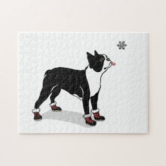 Winter Boston Terrier Dog Puzzle with Gift Box