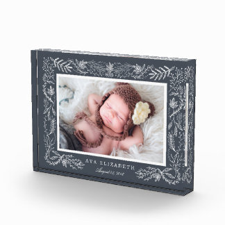 Winter Botanical Frame | Baby Photo Block