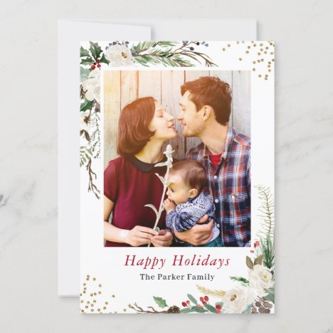 Winter Botanical Greenery Ivory Floral Christmas Holiday Card