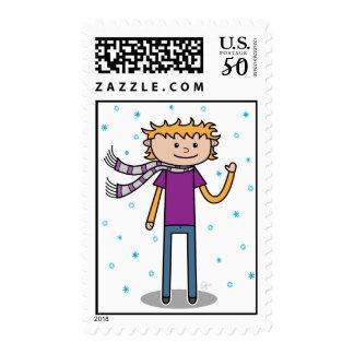 Winter Boy - Postage Stamp