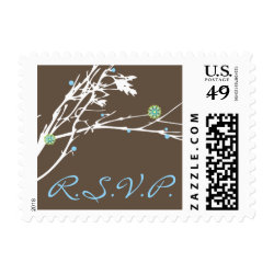 Winter Branch Snow Flower RSVP Wedding Postage