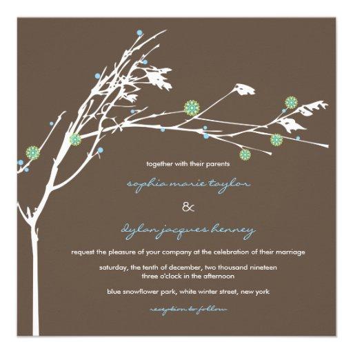 Winter Branch Snow Flower Wedding Invitation Announcements