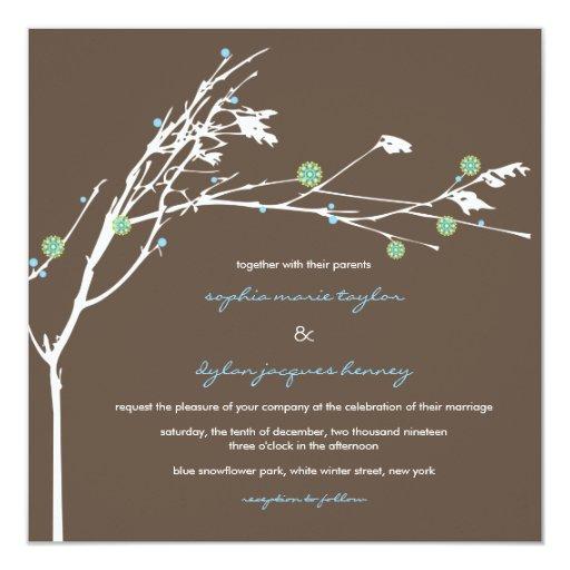 Winter Branch Snow Flower Wedding Invitation