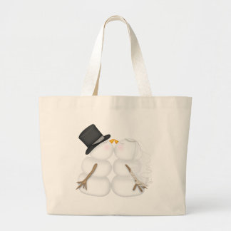 WINTER BRIDE & GROOM Snowman Couple TOTE Jumbo Tote Bag