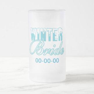 Winter Bride Wedding 16 Oz Frosted Glass Beer Mug