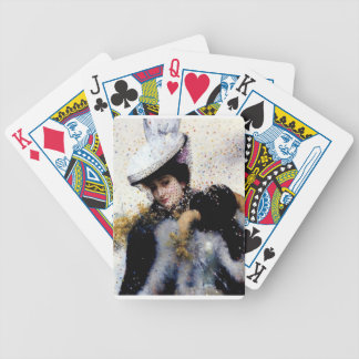 Winter bride wedding confetti painting bicycle poker deck