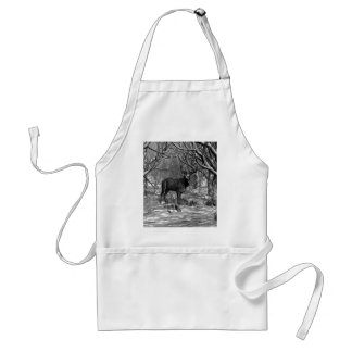 Winter Buck B/W Adult Apron