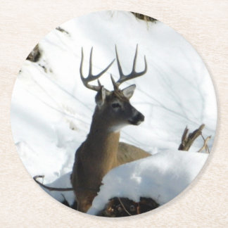 Winter Buck Coaster Round Paper Coaster
