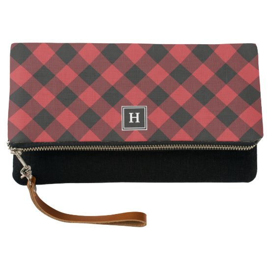 Winter Buffalo Plaid Monogram Clutch