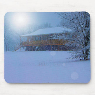 Winter Buildings Mouse Pad