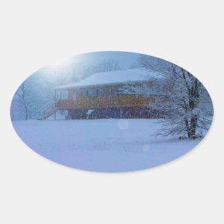 Winter Buildings Oval Sticker