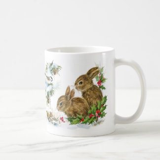 Winter Bunnies and Birds in the Snow Christmas Mug