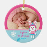 Winter Bunny Baby's First Christmas Ornament