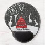 Winter Bunny Hoppy Holidays Gel Mousepad