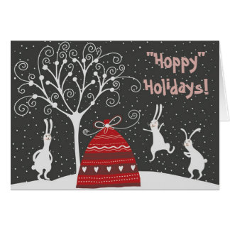 Winter Bunny Hoppy Holidays Greeting Card
