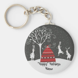 Winter Bunny Hoppy Holidays Key Chain