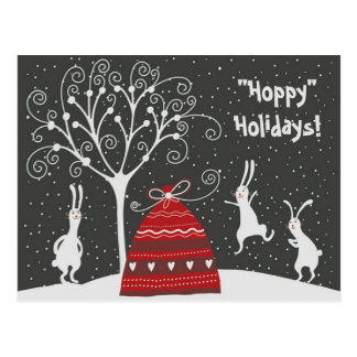 Winter Bunny Hoppy Holidays Postcard