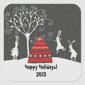 Winter Bunny Hoppy Holidays Sticker Square Sticker