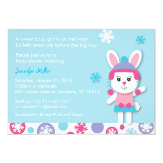 Winter Bunny Snow Baby Shower Invitations