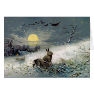 Winter bunnys Christmas card