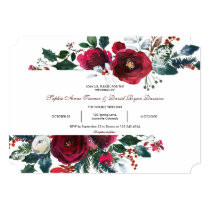 Winter Burgundy Floral Pine Frame Wedding Invitation