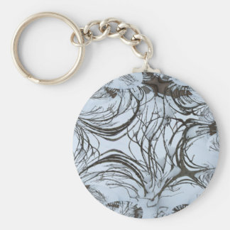 Winter Bushtree Abstract Basic Round Button Keychain