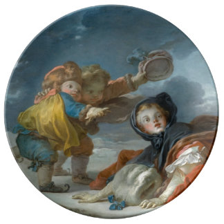 Winter by Jean-Honore Fragonard Porcelain Plate
