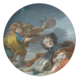 Winter by Jean-Honore Fragonard Dinner Plates