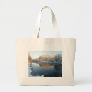 Winter by the River Canvas Bag