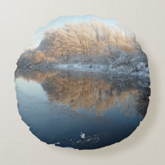 Winter by the River Round Pillow