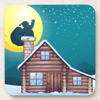 Winter cabin beverage coaster