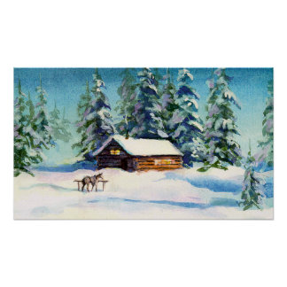 WINTER CABIN & HORSE  by SHARON SHARPE Poster