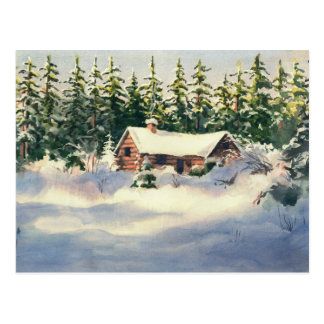 WINTER CABIN in SNOW by SHARON SHARPE Postcard