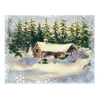 WINTER CABIN in SNOW by SHARON SHARPE Post Card