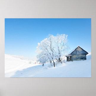 Winter Cabin Landscape Print