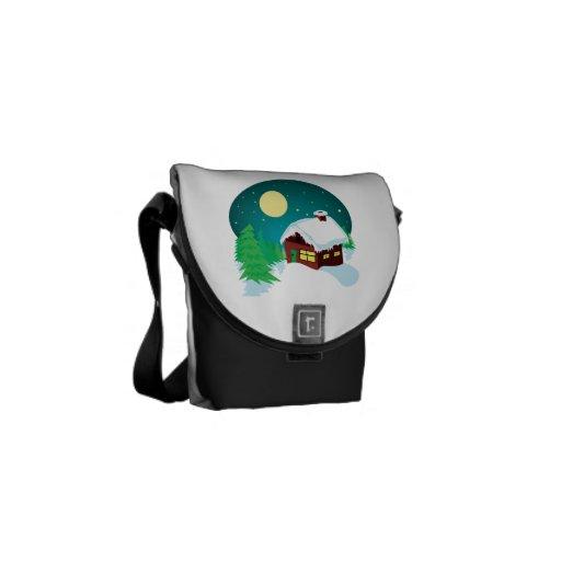 Winter Cabin Messenger Bags
