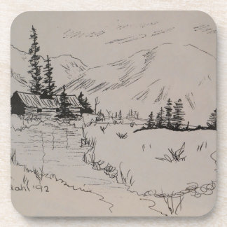 Winter Cabin of the North Woods Drink Coaster