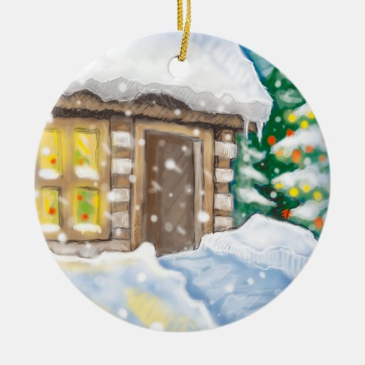 winter cabin Double-Sided ceramic round christmas ornament
