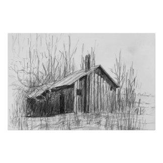 Winter Cabin Print