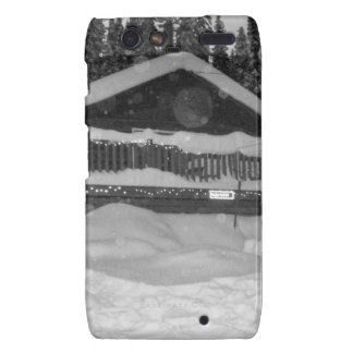 winter cabin snow dripping off the deck droid RAZR cover