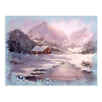 WINTER CABIN & SNOWFLAKES by SHARON SHARPE Postcard