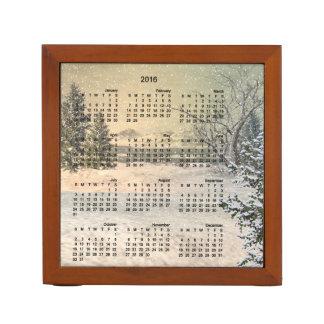 Winter calendar desk organizer