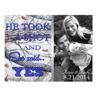 Winter Camo Save The Date Wedding Postcard