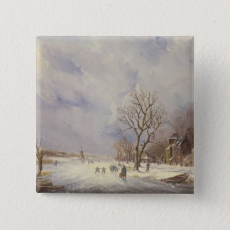 Winter Canal Scene, 19th century Pinback Button