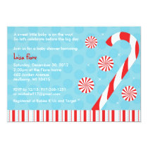 Winter Candy Cane Baby Shower Invitations
