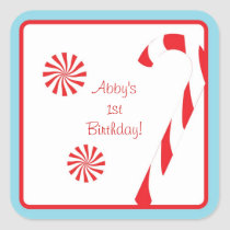 Winter Candy Cane Birthday Envelope Seals Stickers