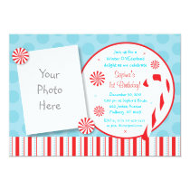 Winter Candy Cane Photo Birthday Invitations
