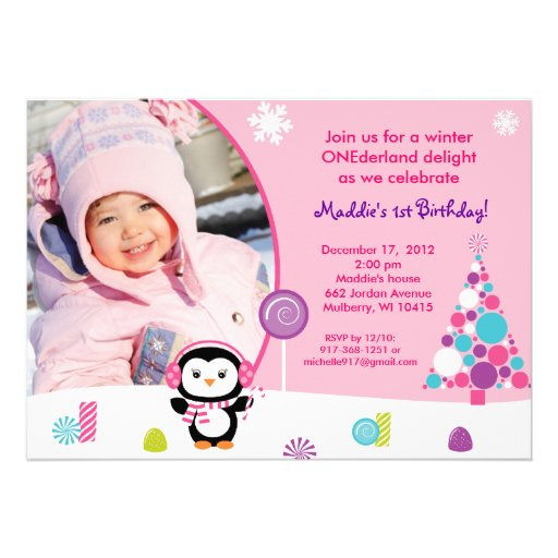 Winter Candy Penguin Birthday Invitations